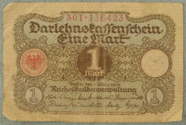 1 Mark Note 1920 Germany Inflationary Currency