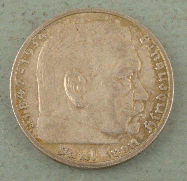 1934 NAZI 5 RM COIN-SILVER COMMEMORATING HINDENBURG
