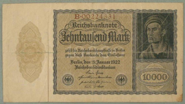 1922 German Inflationary Currency-10,000 RM Berlin Note