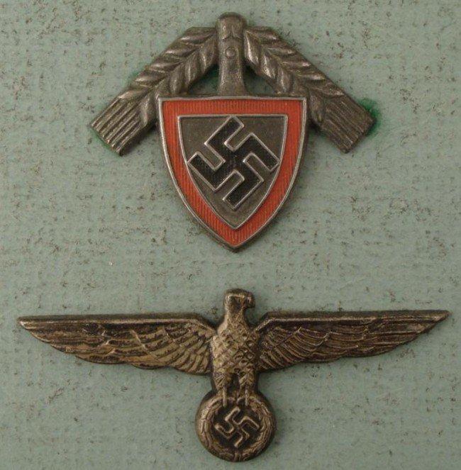 2 ORIGINAL NAZI WWII INSIGNIA RAD HAT DEVICE, SWASTIKA