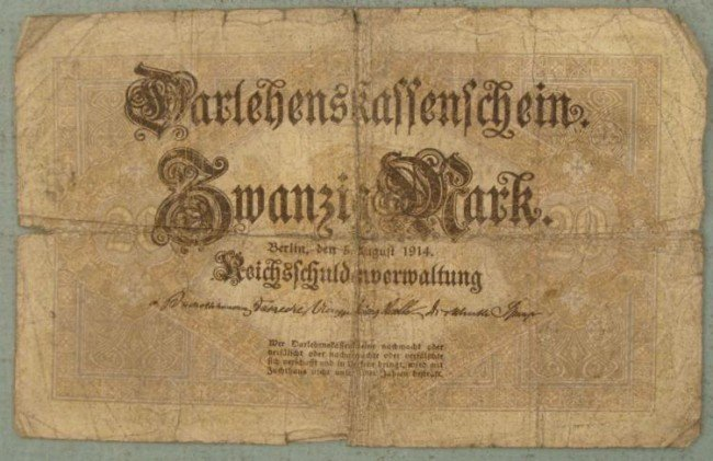 20 Mark Note 1914 Germany Inflationary Currency
