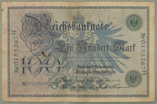 100 Mark Note 1908 Germany Inflationary Currency