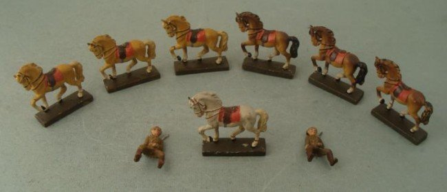 7 GERMAN MADE LINEOL TOY HORSES-AND 2 U.S. SOLDIERS