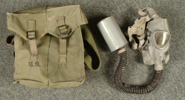 WWII U.S. ARMY ISSUED GASMASK, HOSE, CANNISTER, PACK