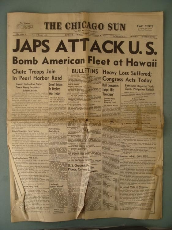 FULL CHICAGO SUN NEWSPAPER DEC 8, 1941 PEARL HARBOR