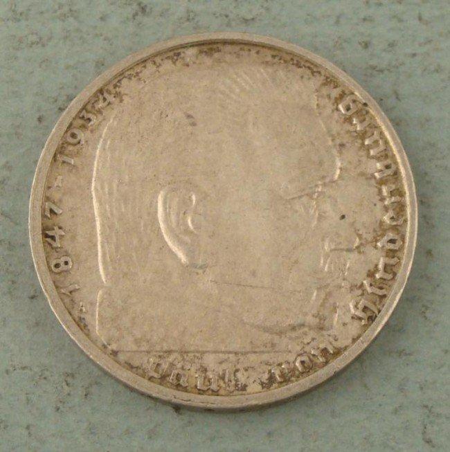 1939 2RM NAZI SILVER COIN W/EAGLE, SWASTIKA, HINDENBURG