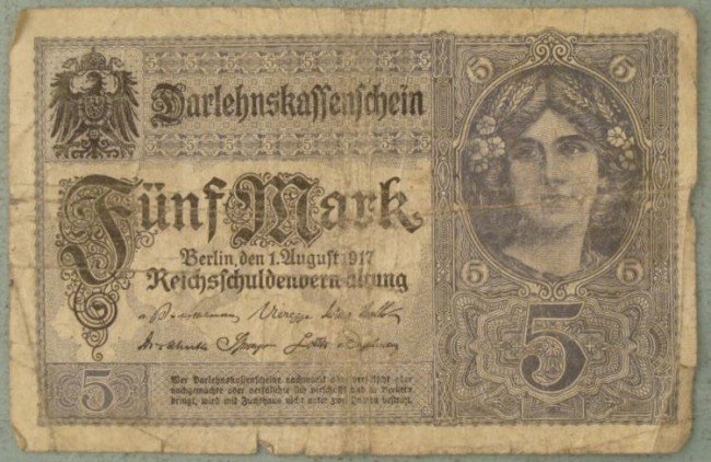 5 Mark Note 1917 Germany Inflationary Currency