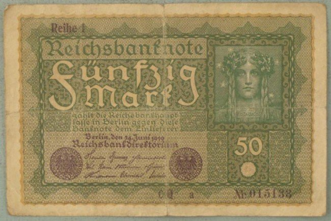 50 Mark Note 1919 Germany Inflationary Currency