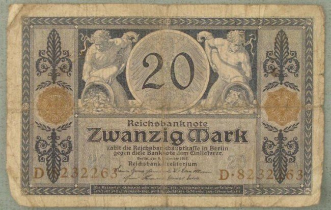20 Mark Note 1915 Germany Inflationary Currency