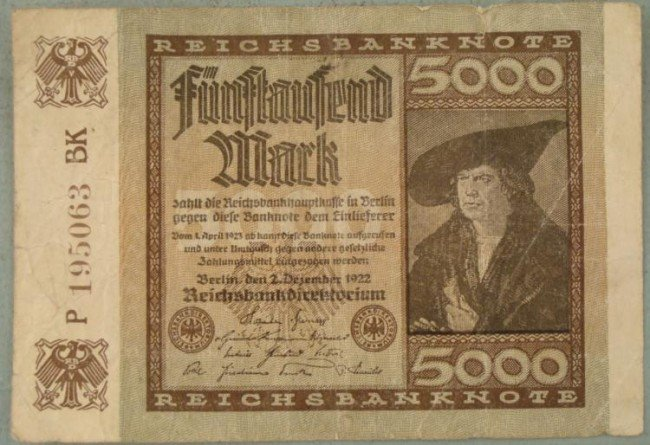 1922 5000 German Mark Inflationary Currency Note