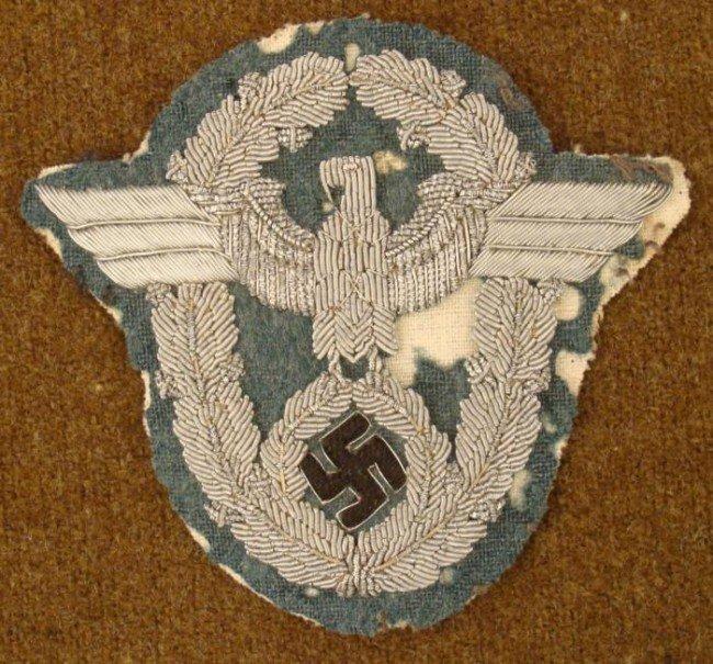 NAZI POLICE OFFICER'S BULLION UNIFORM SLEEVE EAGLE