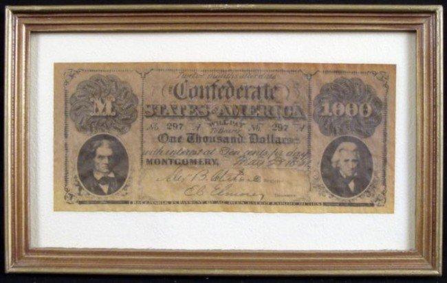 1861 $1000 CSA Confederate States Calhoun/ Jackson Note