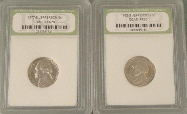 2 Proof Jefferson Nickels 1977S, 1992S PR70