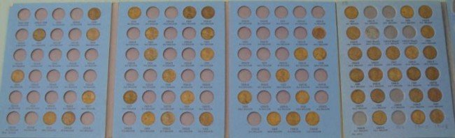 52 Early Lincoln Wheat Cents Very Nice in Books 1909-50