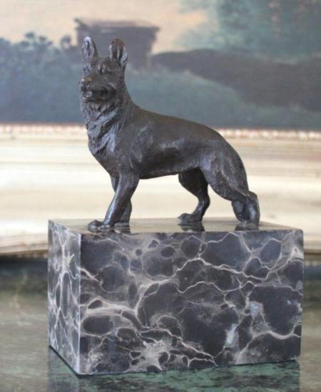 Proud German Shepherd Bronze Sculpture After Barye