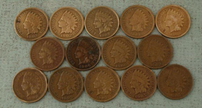 14 Mixed Indian Head Cent Pennies -All Nice 1897-1908