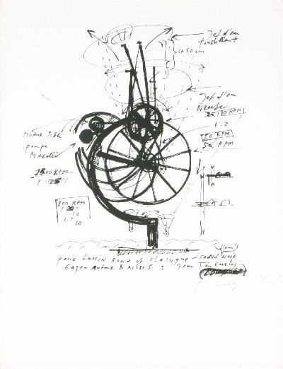 Signed 1968 Tinguely Untitled Lithograph