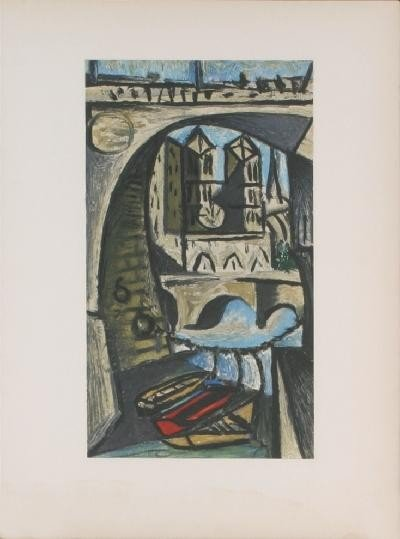 1945 Picasso View of Notre Dame Mourlot Litho