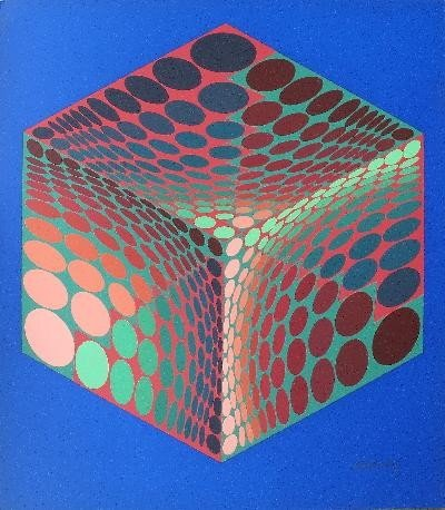 Signed Vasarely Cube Serigraph