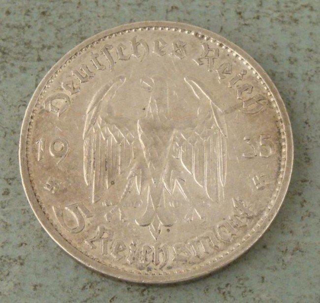 Nazi German 1935G Silver 5 Mark Potsdam Garrison Coin
