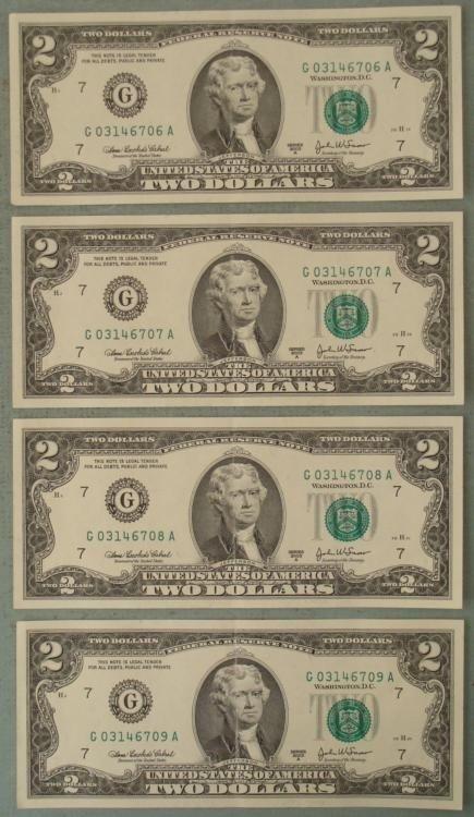 Rare 4 Consec # CU $2 Bills Notes Printing Error