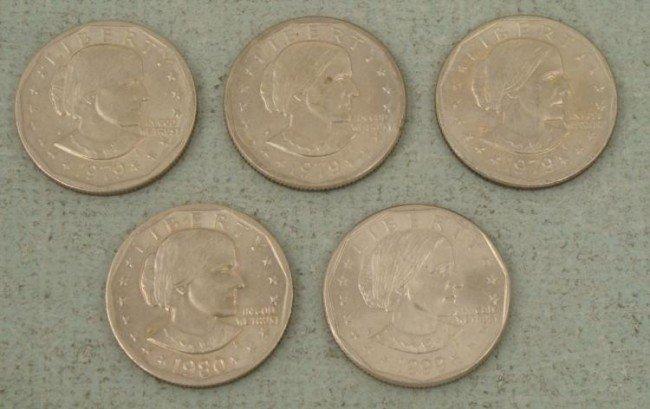 5 Gem UNC Susan B. Anthony Dollars 1979, 1980, 1999