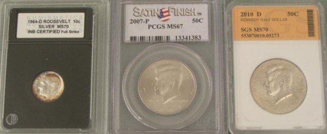 3 Graded US Coins Kennedy Half, Roosevelt Dime
