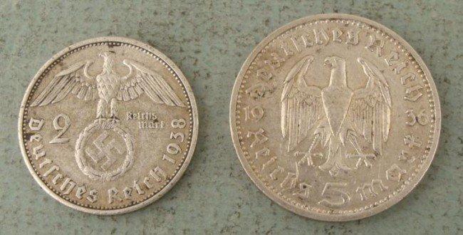 2 High Grade Nazi German Silver 2,5 Mark Coins 1938, 36