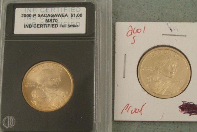 2 Sacagawea Dollars Proof 2001-S, 2000-P MS70