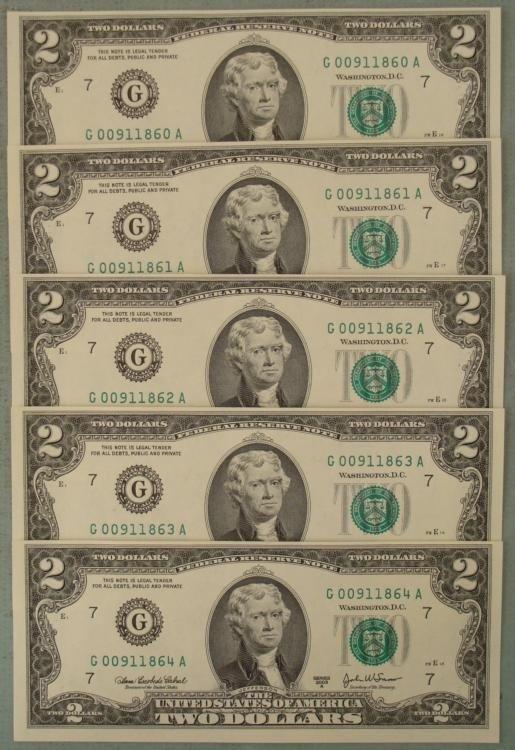 5 Consec CU 2003A $2 Bills Off Center -Clipped at Top