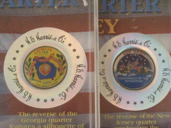2 State Series Colorized Quarters NJ,GA 1999 w/Case,COA