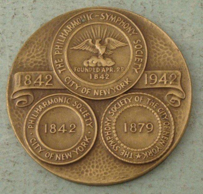 NY Philharmonic Symphony Society Anniversary Medal 1942