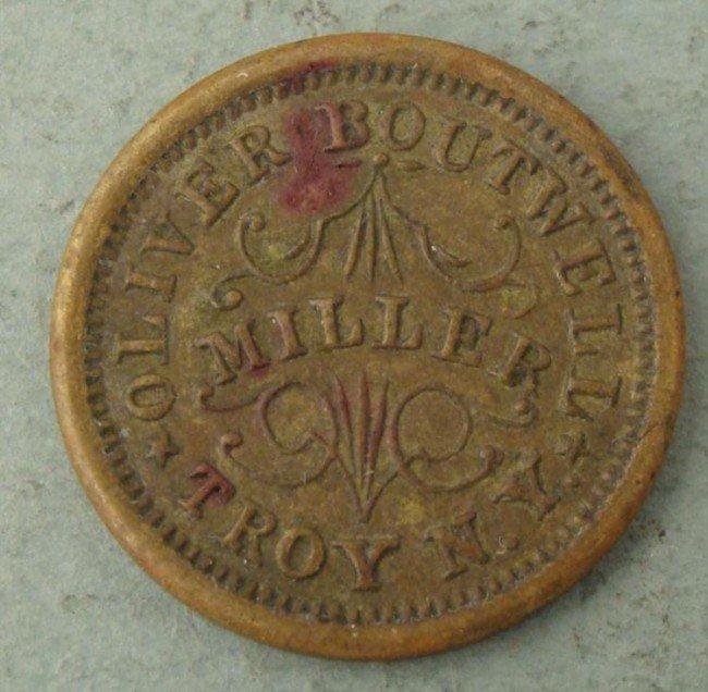 1863 Civil War Token Oliver Boutwell Miller Troy, NY