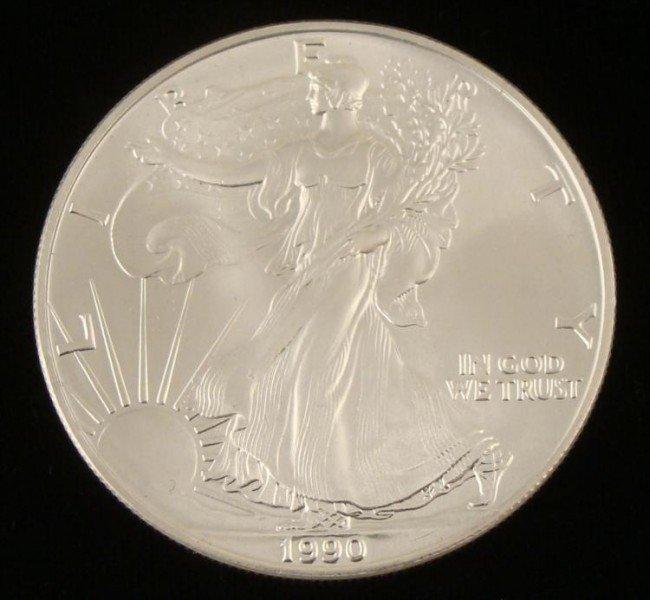1990 American 1 Oz Silver Eagle Dollar $1 Coin Gem UNC