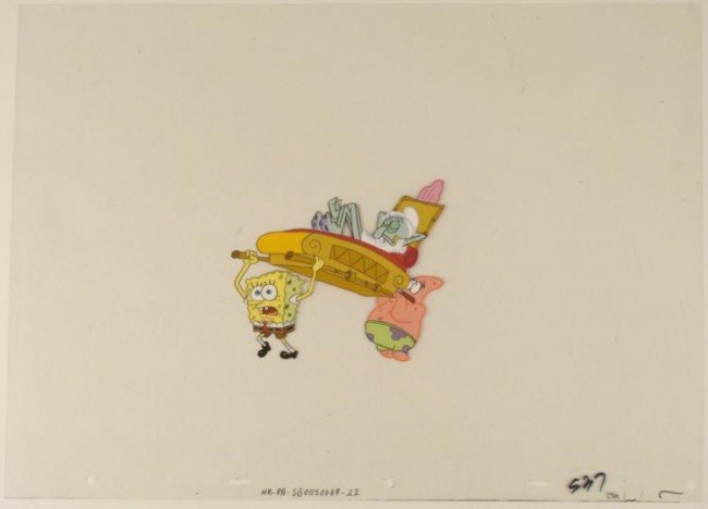 Animation Spongebob Art Too Heavy Cel Original