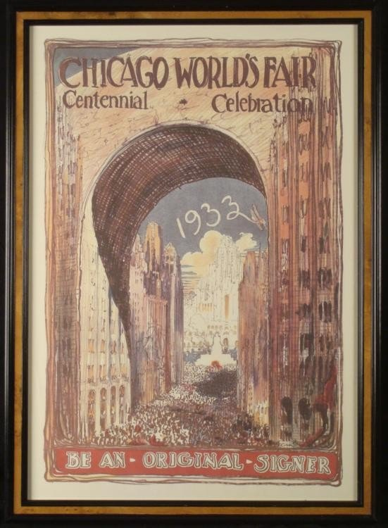 Large 1933 Chicago Worlds Fair Century Art Print Framed