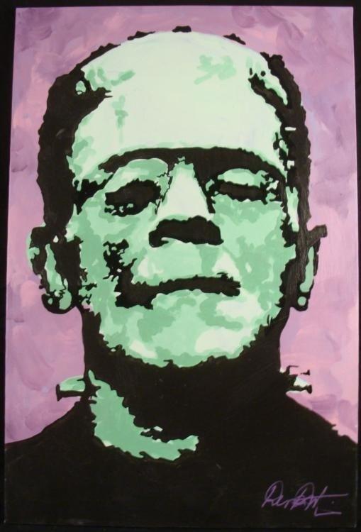 Original Frankenstein Painting Dick Duerrstein