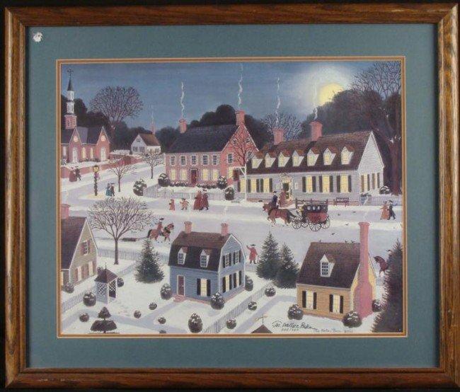 Jos. Wallace Baker Signed Folk Art Village Print Frmd