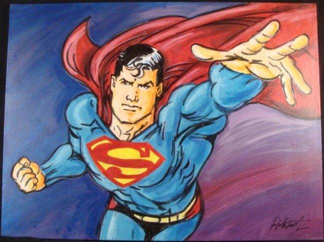 Superman Comic Book Duerrstein Painting Original
