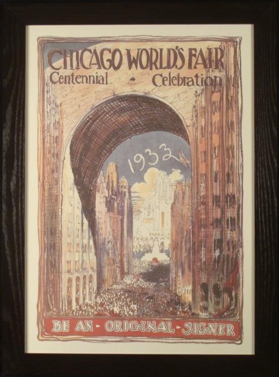 1933 Chicago Century of Progress Art Print Poster Frmd
