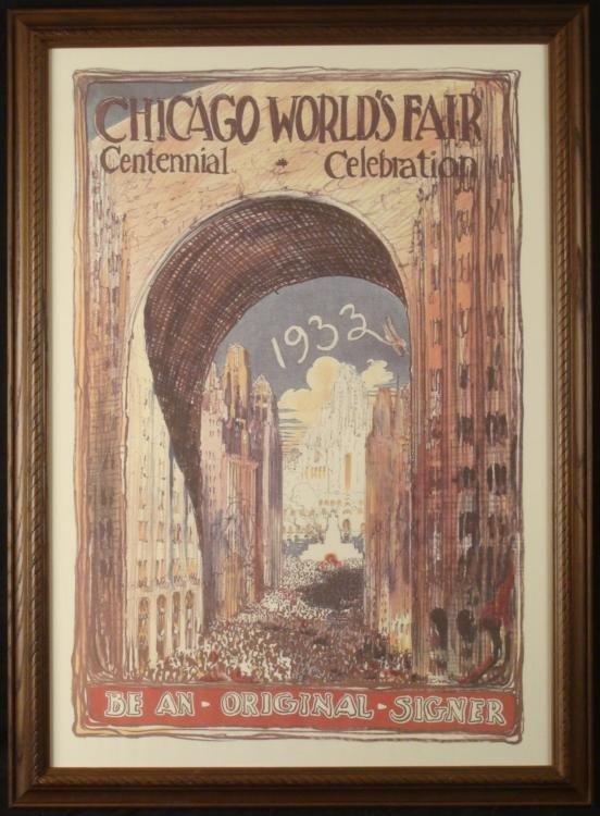 1933 Chicago Worlds Fair Century Art Poster Framed