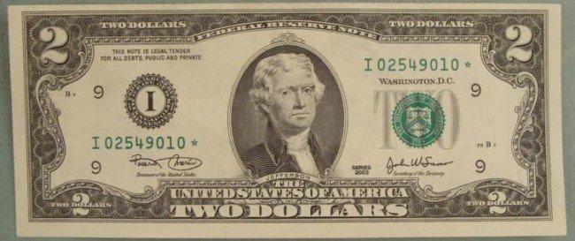 2003 $2 Star Note Two Dollar Bill Minneapolis Mint I