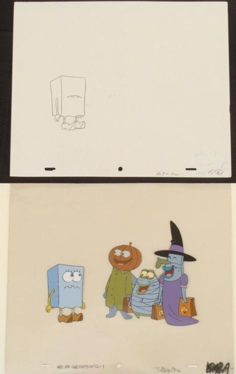 Original Trick or Treat Cel Animation Spongebob Drawing