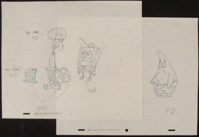 Production Drawing Tagging Along Original Art Spongebob