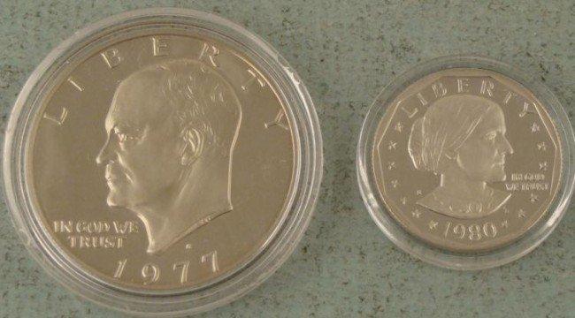 2 Cameo Proof Dollars Eisenhower, Susan B Anthony 1977-
