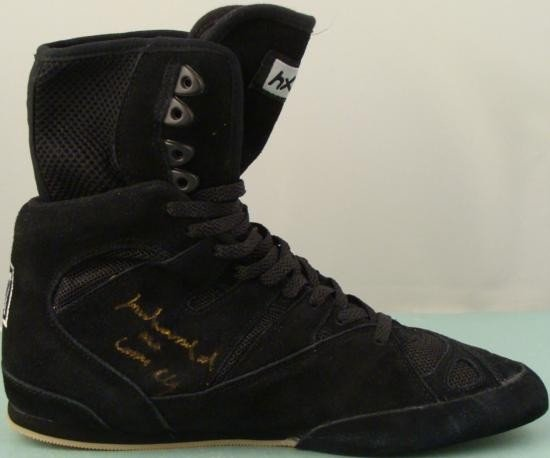 Muhammad Ali Cassius Clay Signed Black Boxing Shoe COA