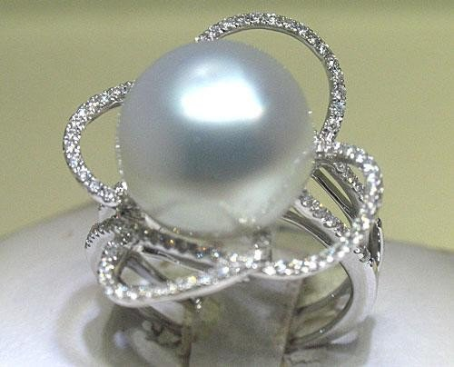 Pearl & Diamond Filigree Ring 18K White Gold Sz 6-1/2