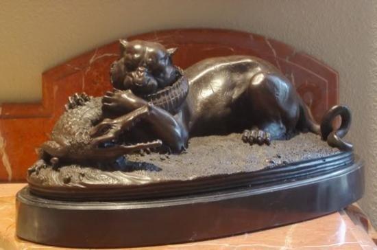 Imposing Bronze Sculpture Fighting Panther & Alliga