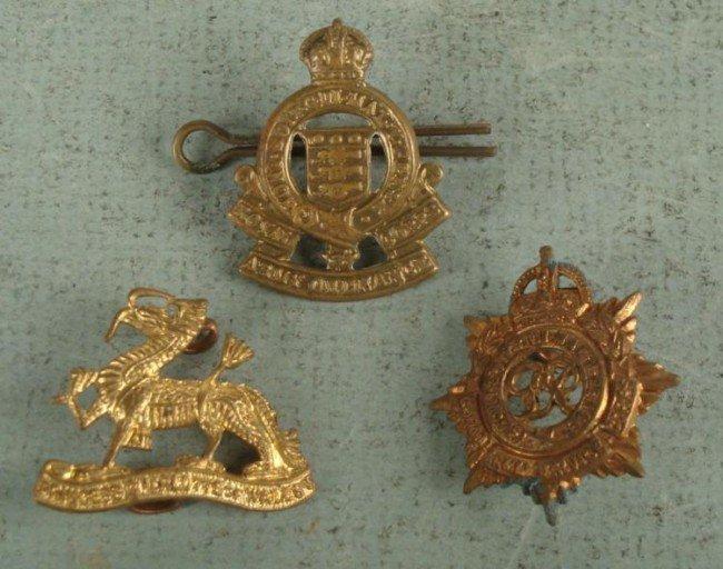 3 BRITISH WWI CAP BADGES-1 ARMY ORDNANCE