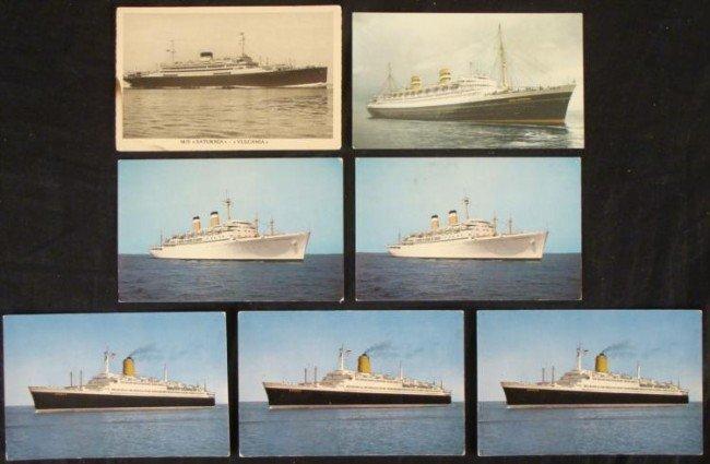 7 VINTAGE SHIP POSTCARDS W/GERMAN LINER T.S. BREMEN